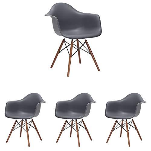 N/A Set mit 4 modernen Küchenstühlen skandinavischen Esszimmerstühlen Lounge Chair Coffee Chairs Side Chair Sessel Retro Design mit massivem Buchenholz Bein (grau)