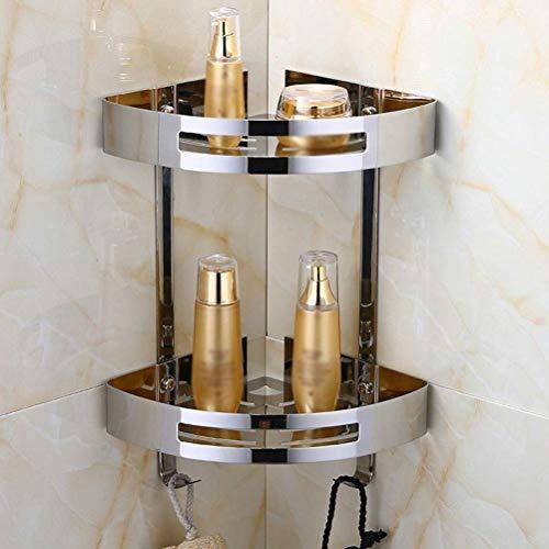 Estante de baño de cristal con toallero montado en la pared, organizador de ducha rectangular de 50 cm 0719 (tamaño : con barra de toalla) Soporte de pared (tamaño: B)