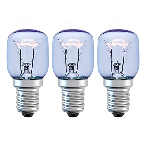 DGE 25W Blaues Glas Backofenlampe,Ofen Glühbirnen,E14 Kleine Edison Screw Base Wolframlicht,220-240V,2300K Warmweiß,Bis 300°C Hitzebeständiges,für Mikrowelle/Backofen/Kühlschrank,Dimmbar,3er Pack