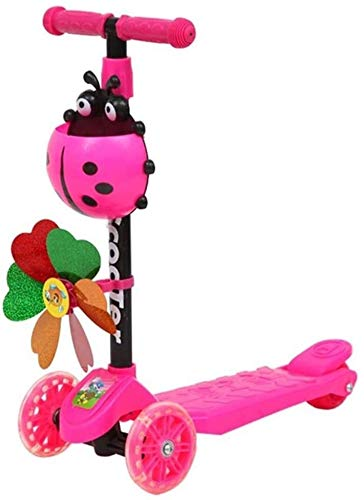 AnQna Kinder Kleinkind-Kick-4-Rad-Scooter Windmill Ladybug Scooter Faltbare Einstellbare Höhe Lean for Junge Mädchen 2-14 Jahre alt Steer (Color : A)