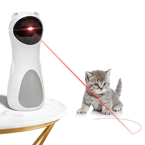 EverWin Cat Laser Toy Automatic Interactive Laser Pointer Cat Toy for Indoor Cats Kittens DogsUSB Charging/Battery Powered 5 Random Pattern Automatic On/Off and Silent Fast/Slow Mode