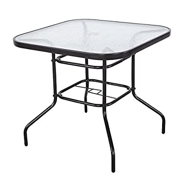 Cloud Mountain 32  x 32  Outdoor Dining Table Tempered Glass Table Patio Bistro Table Top Umbrella Stand Square Table Deck Outdoor Furniture Garden Table, Dark Chocolate