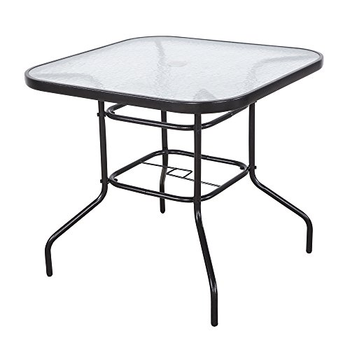"""Cloud Mountain 32"""" x 32"""" Outdoor Dining Table Tempered Glass Table Patio Bistro Table Top Umbrella Stand Square Table Deck Outdoor Furniture Garden Table, Dark Chocolate"""