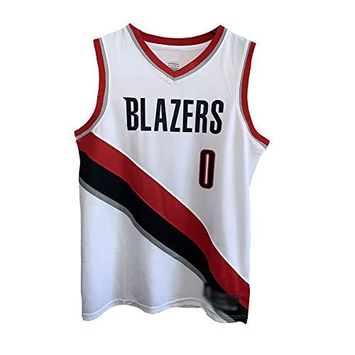 CHSC Maglia da Basket Uomo-Blazers #0 Lillard,Classico Maglia Canotta Magliette da Basket per Bambini,Jersey Basket per Tifosi Camicie T-Shirt Sportive Bianca A-1XS