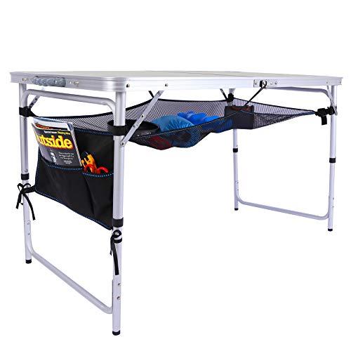 REDCAMP おりたたみ テーブルアウトドア 60cm/90cm/120cm ピクニックてーぶる2段 高さ調節な脚 アルミ コンパクト 軽量 携帯便利 キャップ用品 (120x60cm 2段 白)