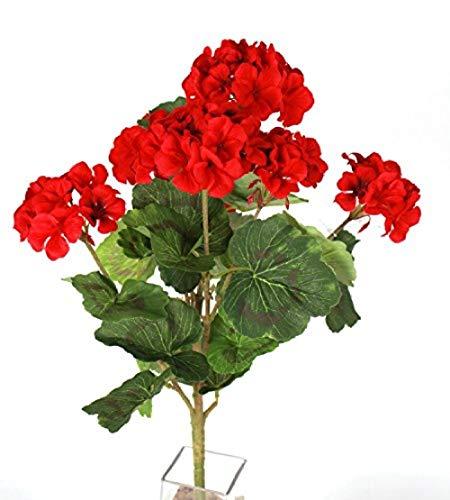 Ymwenj Flor Artificial Arbusto De Geranio Rojo De 18 Pulgadas con 7 Cabezas De Flores - Arbusto De Flores Artificiales