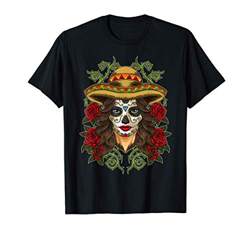La Calavera Catrina - Santa Muerte - Sugar Skull Camiseta