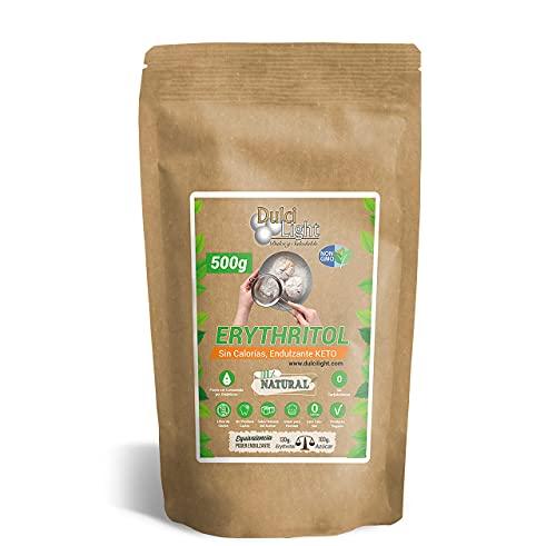 DULCILIGHT Eritritol 500gr de Edulcorante 100% Natural Cero Calorias Sustituto del Azucar para Dietas Keto y Cetogenicas