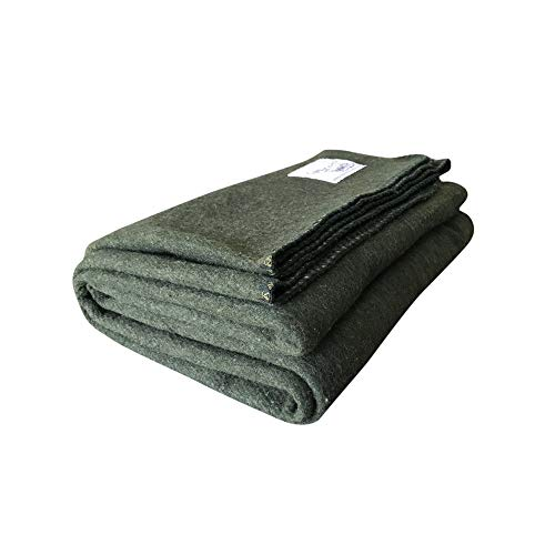 Woolly Mammoth Woolen Co. | Extra Large Merino Wool Camp Blanket | Perfect Outdoor Gear | Bedroll for Bushcraft, Camping, Trekking, Hiking, Survival, or Throw Blanket at The Cabin (Hunter Green)