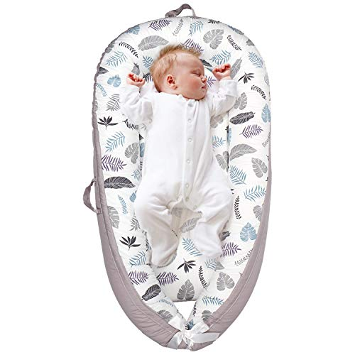 Cosy Nation Baby Lounger, Baby Nest for Nest Sharing Portable Newborn Lounger, 100% Soft Breathable Cotton, Partner for Crib & Bassinet, Perfect for Traveling and Napping, Baby Shower Gift (Feather)