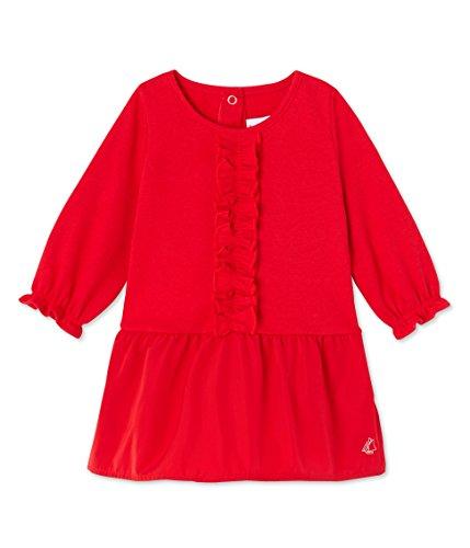 Petit Bateau Robe ML, Rouge-Rot (Froufrou 79), 6 Mois Bébé Fille
