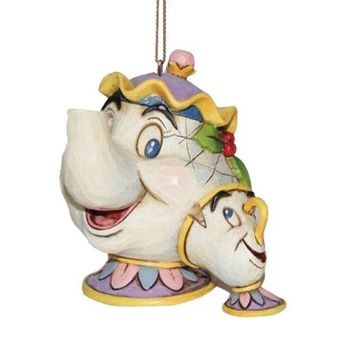 """Disney Traditions, Figura de Sra. Pott y Chip para colgar de """"La Bella y la Bestia"""", Enesco"""