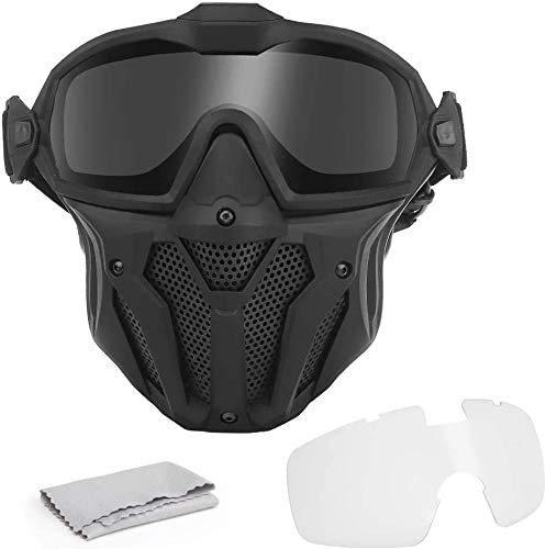 Kayheng Máscara táctica Airsoft Paintball Gafas Desmontables, con Sistema de Ventilador antivaho Protección Facial Completa Transpirable para Combate CS War-Game