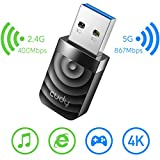 Cudy WU1300S Adattatore USB 3.0 WiFi AC1300Mbps per PC, Dongle WiFi USB 400 Mbps + 867 Mbp...
