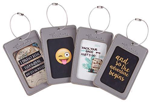 Travelambo Leather Luggage Tag Suitcase Bag Travel Tags (Grey 4 pcs Set)