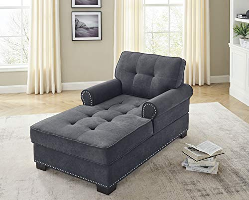 "Modern Chaise Lounge Chair 59"" Velvet Upholstered Sofa Recliner Lounge Chair with Nailheads Trim for Living Room Bedroom (Dark Gray)"