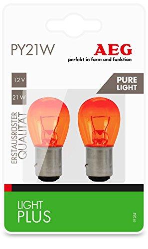 AEG Automotive 97284 Lámpara Light Plus Pure Light PY21W, 12 V, set de 2 piezas