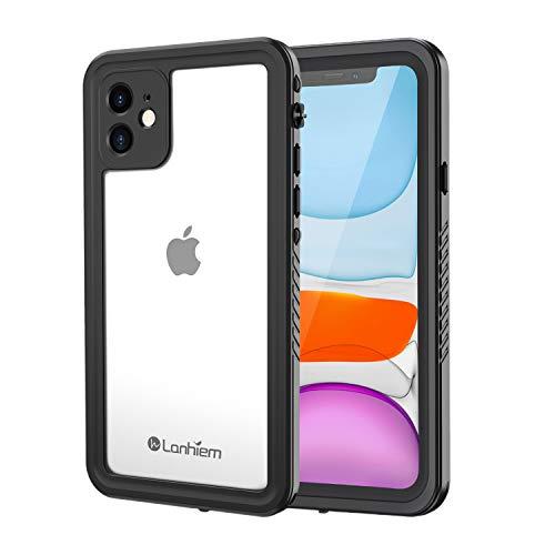 """Lanhiem Cover iPhone 11 (6.1""""),Custodia Impermeabile iPhone 11[IP68 Certificato Waterproof] Full Body con Protezione dello Schermo Antiurto Antineve Antipolvere Subacquea Custodia per iPhone 11,Nero"""