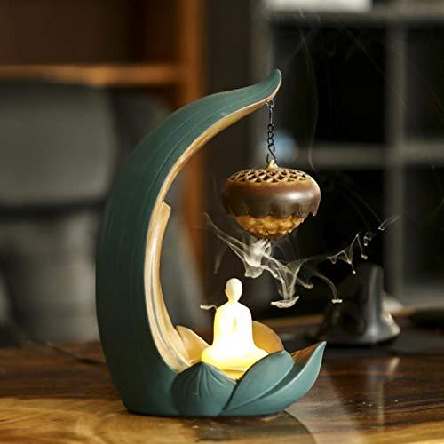 Ceramic Incense Burner Holder lotus Backflow Burner Bowl Buddha Art Crafts Home, Office Deco with LED Night Light (Lotus Burner Bowl)