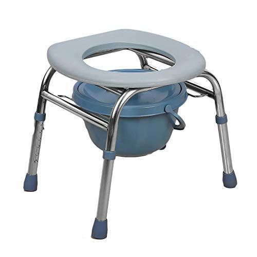 OCYE waterdicht nachttoilet van roestvrij staal, multifunctioneel met toiletschaal, draagbare toiletbril, douchekast, in hoogte verstelbaar, geschikt voor ouderen, slechtzienden vrouwen