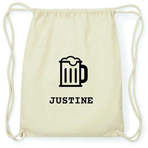 JOllify Turnbeutel - Happy Birthday - für Justine - Bier Gruß