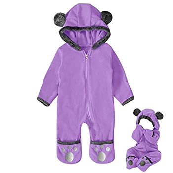 Newborn Baby Boy Girl Cute Dinosaur Hooded Romper Jumpsuit Clothes  3M Purple B