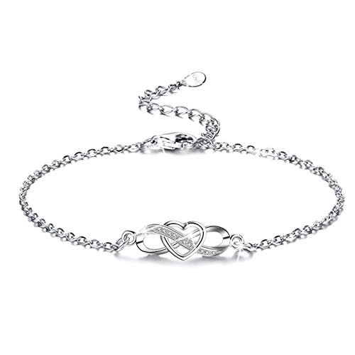 L.Adorer Damen Fußkettchen,Infinity Unendlichkeit Herz,925 Sterling Silber,Zirkonia ähnlich Diamant,Armkette Verstellbar Knöchel Armband, Frauen