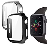 Funda Apple Watch 44mm Serie 6/SE/5/4, Protector Pantalla Integrados, Anti-Rasguños Slim Funda + Cristal Templado Compatible con Apple Watch Series 6 Series 5 Series 4 SE 44mm (Negro + Plata)