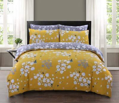 Divine Textiles 100% Pure Egyptian Cotton Printed Reversible Duvet Quilt Cover Set, Double - Blossom