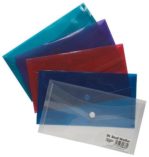 5Kunststoff-Dokumenten-Hüllen in Briefumschlaggröße (DL), mit Druckknopf