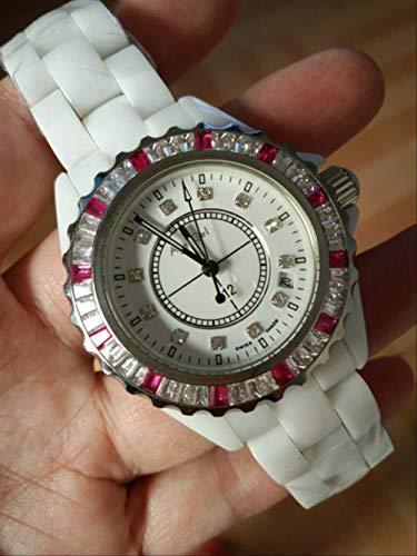 Klassische Armbanduhr Männer Frauen Japan Quarz Schwarz Weiß Keramik Datum Diamanten Rund um Uhr Rosa Blau Diamant Baguettes Lünette Lady UhrenDamen Bunt
