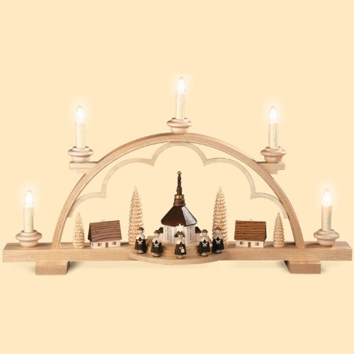Müller German candle arch Carolers small village, length 57 cm / 22 inch, natural, electrical illuminated (120V, 50Hz), original Erzgebirge by Mueller Seiffen