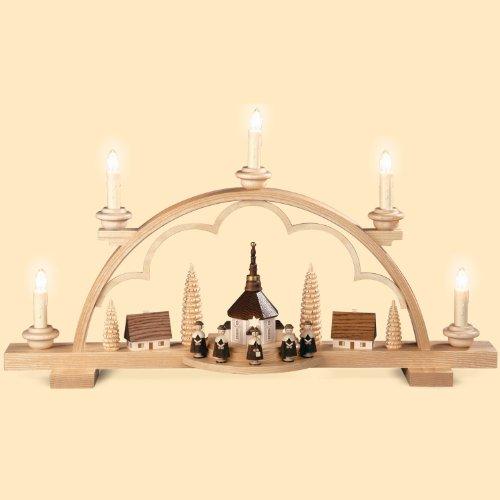 DREGENO Schwibbogen mit Kirche und Kurrende, elektrisch beleuchtet, von DREGENO SEIFFEN 57 cm – Original erzgebirgische Handarbeit