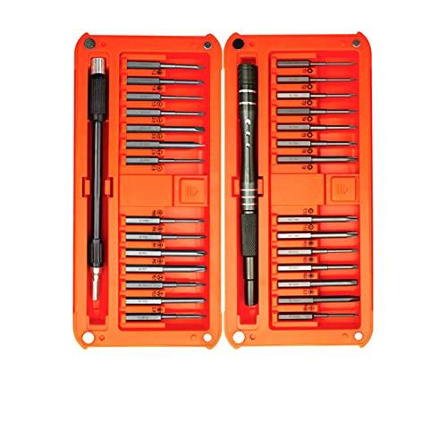 SIEYS Destornillador Juego 30 en 1 Destornillador de bit magnético de precisión bit Torx Torx Hexagonal Kit de reparación de teléfono Herramienta de Mano (Color : Orange)