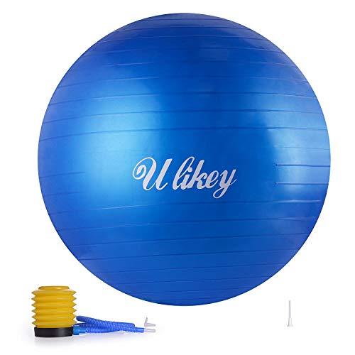 Ulikey Ballon de Gymnastique Balle d'Exercice Balle Fitness, 65cm Maximale jusqu'à 300 kg, Ballon Gym avec Pompe Antidérapant pour Pilates, l'exercice, Yoga (Bleu)