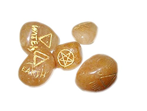 New Golden Quartz 5 Element Tumbled Stones Thick Genuine Earth Wiccan Pagan Pouch Gift Air Water Earth Fire Spirit Pentacle Star Spiritual Psychic Metaphysical Worship Altar India Asia Stone Gemstone Quality A Grade Prayer Massage Positive Energy Meditation Relaxation Gift Birthday Mother's Day