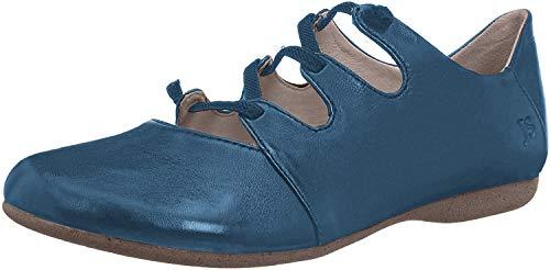 Josef Seibel 87204 Fiona 04 Damen Leder Freizeitschuh, Sommerschuh, elastische Schnürsenkel, Slipper, Schnürhalbschuh Blau (Blau), EU 45