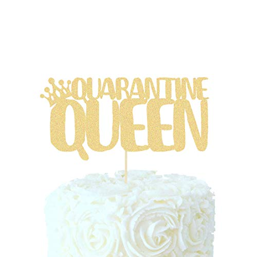 Quarantine Queen Birthday Cake Topper social distancing Birthday Party Supplies Decorations Baby Boy Girl Man Black Gold Glitter