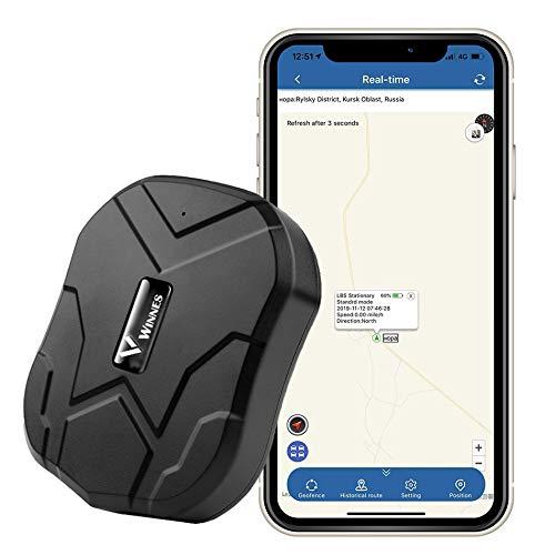 MUXAN GPS Tracker, Wasserdichtes GPS Locator Tracker Suchgerät mit leistungsstarkem Magnet 90 Tage Lange Standby GPS Ortungsgerät für Cars Live-Tracking Genaue Positionierung Anti-Thief