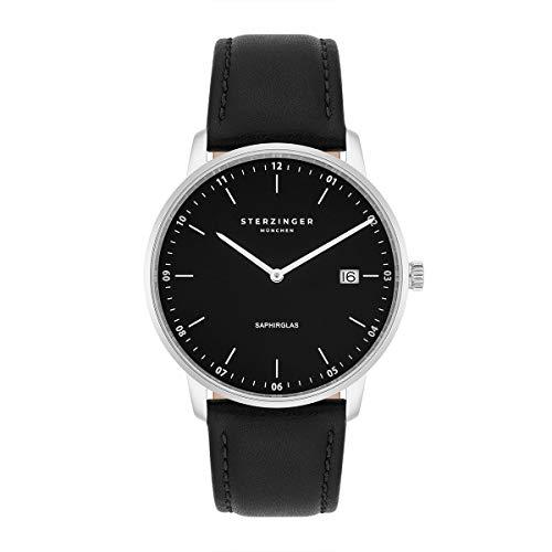 Sterzinger München Herren-Uhr analog Ronda-Uhrwerk mit Echtleder-Armband Made in Italy schwarz Saphirglas 10040041