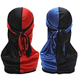 Silky Durag for Men Women Wave Durag Two Tone 360 Waves Pirate Cap with Long Tail Wide Straps 2 PCS