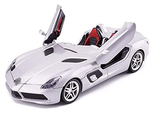 Sports Model Car 1:24 Silver Scale Diecast Vehículo Modelo De Vehículo Simulación Aleación De Adornos De Juguete De Casting Collection Para Niño Niño Niña Regalo Showcase Recolecta Adornos (L20CM)