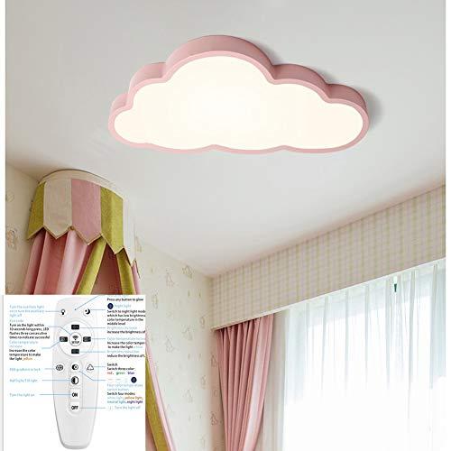 Regulable Lámpara De Techo Forma de Nube LED Ultraslim Luz De Techo con Control Remoto para Dormitorio Cocina Oficina,Pink,L50cm