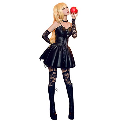 Misa Amane Disfraz de cosplay Death Note Cosplay Vestidos de cuero sexy para mujer Fiesta Club Vestido de látex con tirantes finos Vestido gótico negro sin mangas con volantes de encaje Verano
