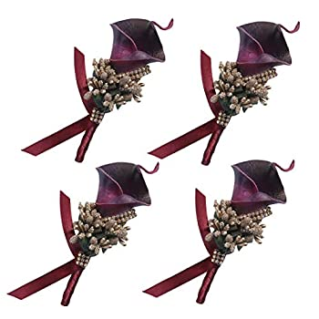 Anna Homey Decor Burgundy Calla Lily Boutenierre Artificial Flower Boutineers with Pin and Clip Wedding Boutenierres for Party Church Centerpiece Set of 4