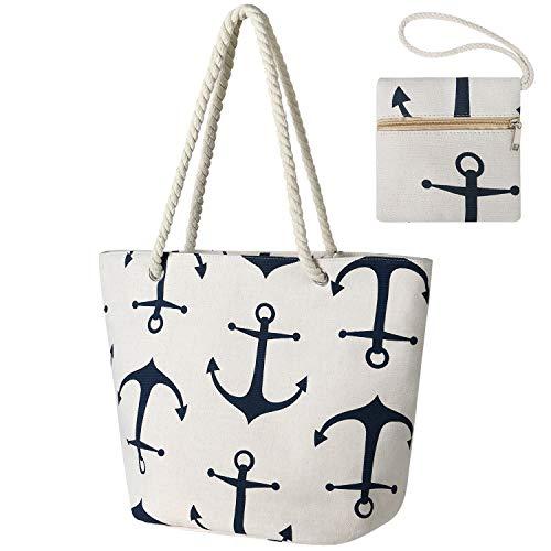 flintronic Große Strandtasche mit Reißverschluss und Innentasche Wasserdicht Strandtasche, Einkaufstasche Shopper für Damen, Schultertasche Einkaufstasche - Beige 2020