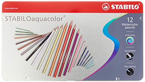 STABILO aquacolor - Lápiz de color acuarelable, caja de metal con 12 colores