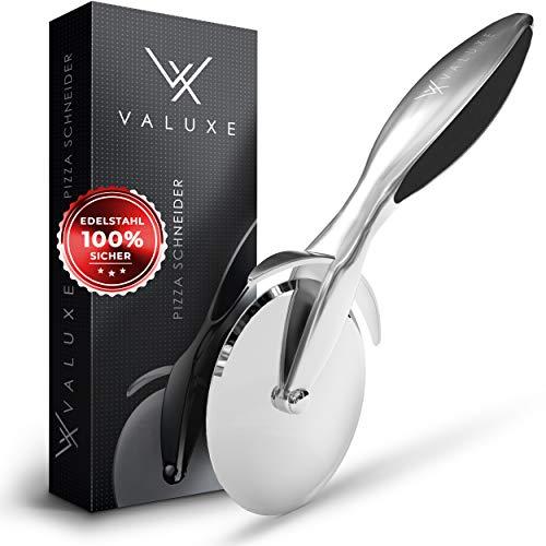 VALUXE® Premium Pizzaschneider mit Pizzamesser aus Edelstahl – Professioneller und sicherer Pizzaroller - Mit rutschfestem Griff - Für maximalen Erfolg in der Küche