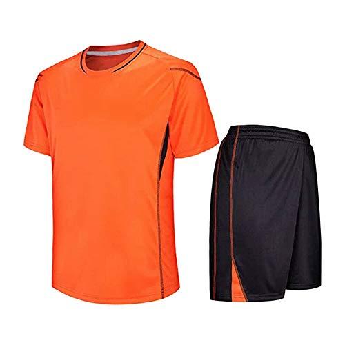 Meijunter Kind Erwachsene Fußball T-Shirt & Shorts Set - Team Training Wettbewerb Sportbekleidung Im Freien Kostüm Soccer Jerseys Uniforms, Orange, Tag 160-165CM = UK/EU/US/AUS 140-145CM