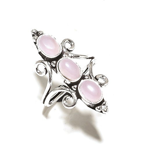 Pink ROSE Quartz! Exotic RING! Gift For Girlfriend, Silver Plated! HANDMADE Jewelry Art! All Variety Store Ring Size 8 US (Adjustable)